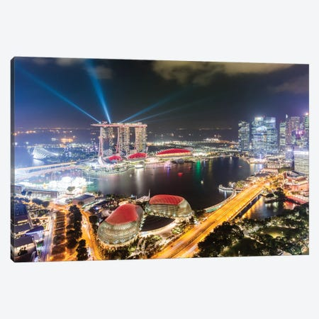 Light Show At Marina Bay Sands, Singapore Canvas Print #TEO385} by Matteo Colombo Canvas Art