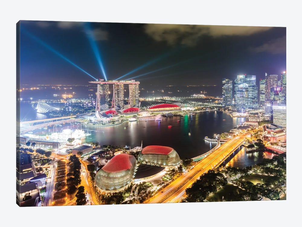 Light Show At Marina Bay Sands, Singapore by Matteo Colombo 1-piece Canvas Print