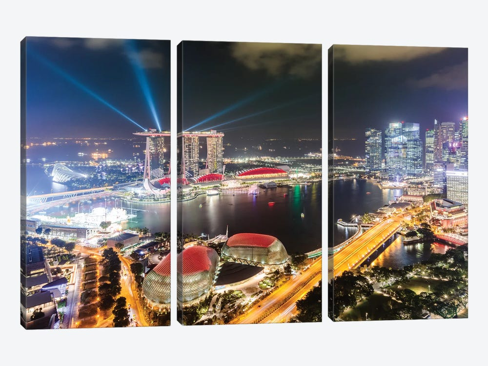 Light Show At Marina Bay Sands, Singapore by Matteo Colombo 3-piece Canvas Print