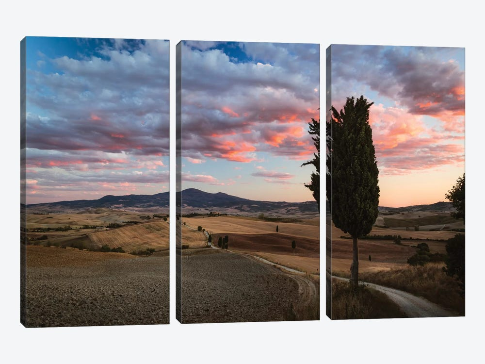 Epic Sunset, Tuscany, Italy by Matteo Colombo 3-piece Canvas Art Print