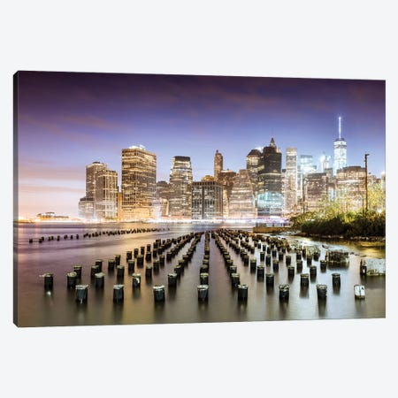 Manhattan Skyline At Dusk, New York Canvas Print #TEO390} by Matteo Colombo Canvas Art