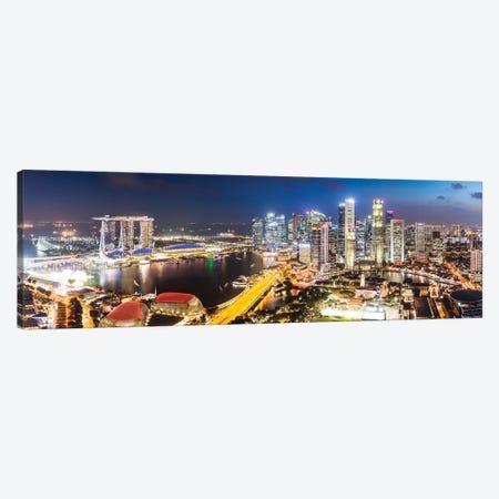 Marina Bay Skyline At Sunset, Singapore Canvas Print #TEO393} by Matteo Colombo Canvas Artwork