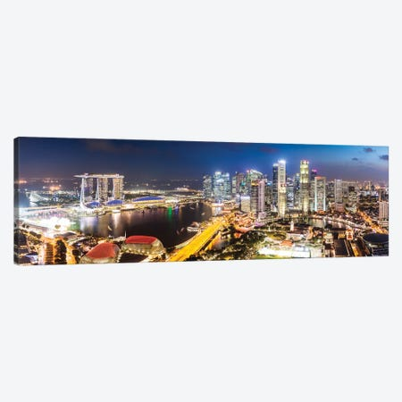 Marina Bay Skyline At Sunset, Singapore Canvas Print #TEO393} by Matteo Colombo Canvas Artwork