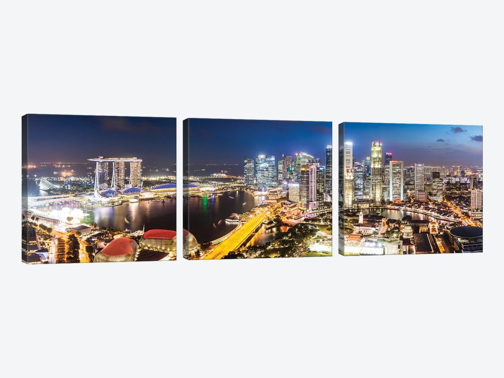 Marina Bay Skyline At Sunset, Singapore by Matteo Colombo 3-piece Canvas Artwork