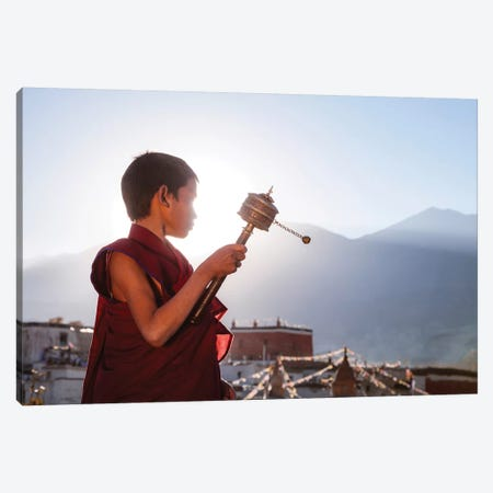 Novice Monk, Nepal Canvas Print #TEO402} by Matteo Colombo Canvas Artwork