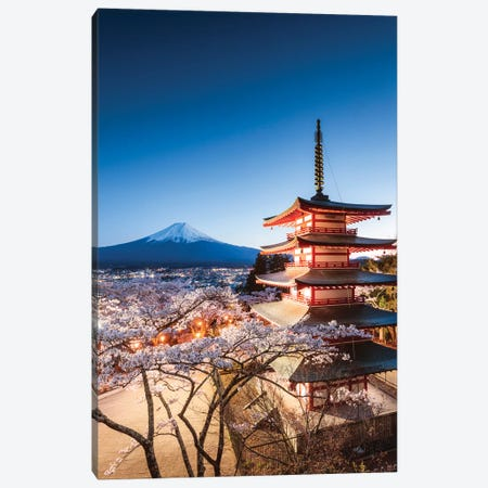 Pagoda And Cherry Trees, Fuji Five Lakes, Japan II Canvas Print #TEO407} by Matteo Colombo Canvas Print