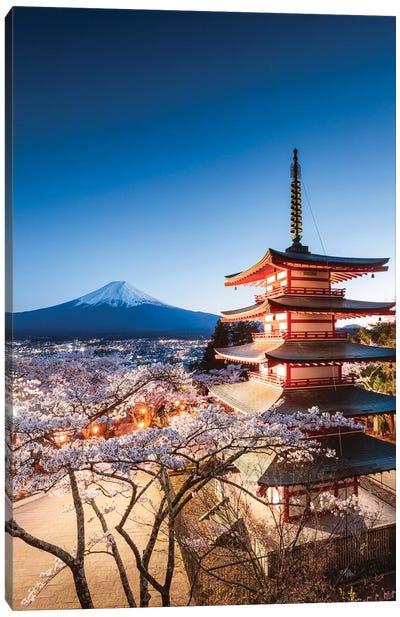 Pagoda And Cherry Trees, Fuji Five Lakes, Japan II Canvas Art Print