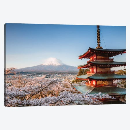 Pagoda And Cherry Trees, Fuji Five Lakes, Japan III Canvas Print #TEO408} by Matteo Colombo Canvas Wall Art