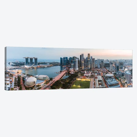 Panoramic Of Skyline At Sunset, Singapore Canvas Print #TEO410} by Matteo Colombo Canvas Print