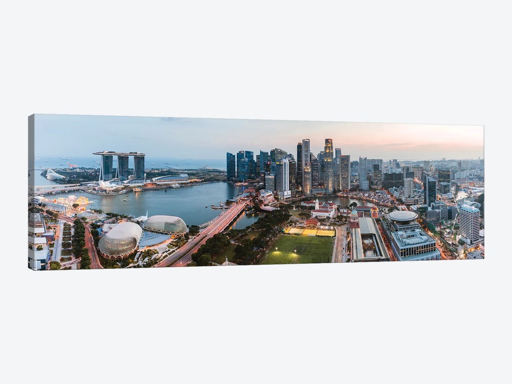Panoramic Of Skyline At Sunset, Singapore by Matteo Colombo 1-piece Canvas Wall Art