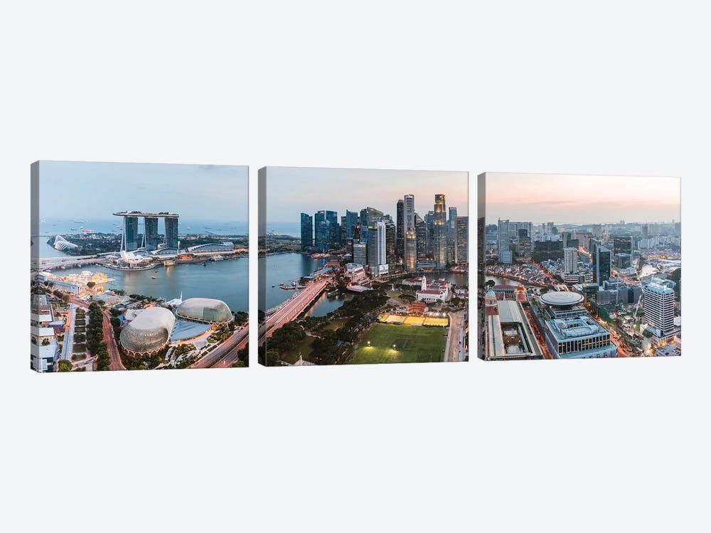 Panoramic Of Skyline At Sunset, Singapore by Matteo Colombo 3-piece Canvas Artwork