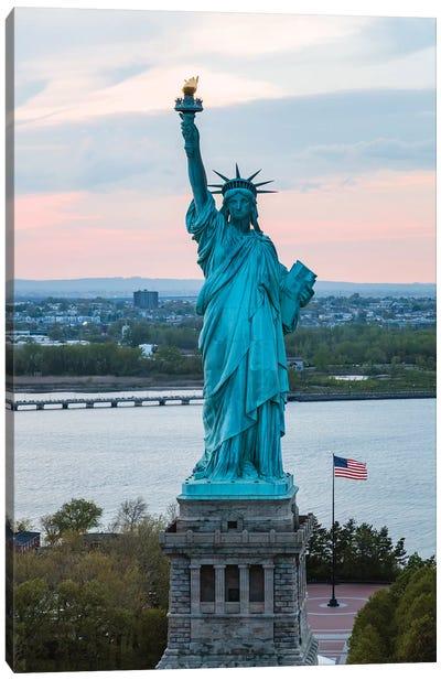 Statue Of Liberty At Sunset, New York Canvas Art Print