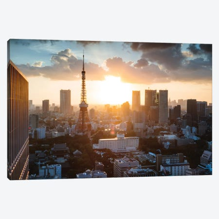 Sunset Over Tokyo, Japan Canvas Print #TEO429} by Matteo Colombo Canvas Art