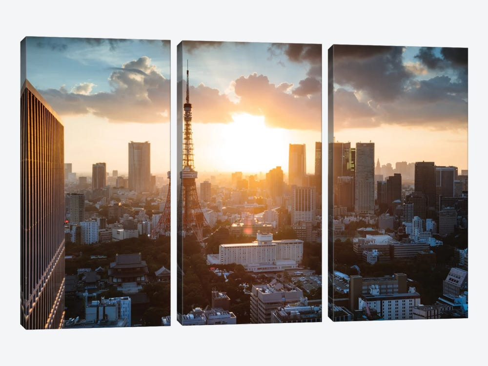 Sunset Over Tokyo, Japan by Matteo Colombo 3-piece Canvas Art