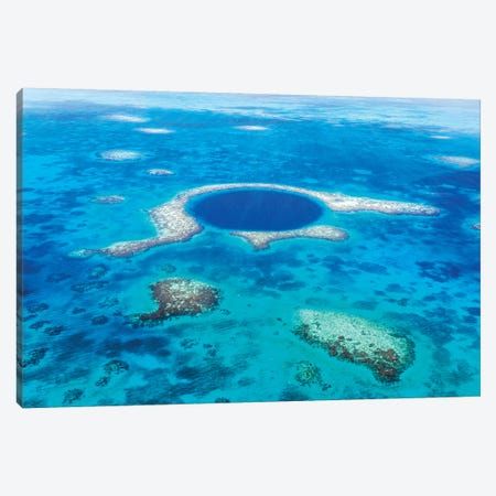 The Great Blue Hole, Belize I Canvas Print #TEO434} by Matteo Colombo Canvas Artwork