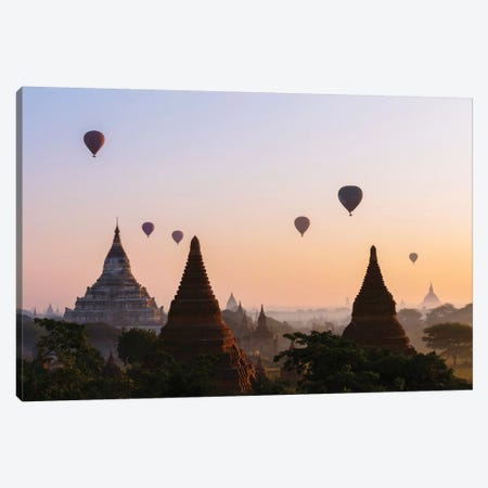 Hot Air Balloon Tours At Sunrise, Bagan Archaeological Zone, Mandalay Region, Republic Of The Union Of Myanmar Canvas Print #TEO43} by Matteo Colombo Canvas Wall Art