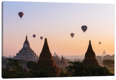 Hot Air Balloon Tours At Sunrise, Bagan Archaeological Zone, Mandalay Region, Republic Of The Union Of Myanmar Canvas Print #TEO43