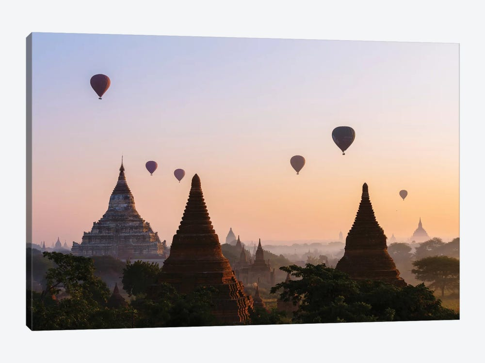 Hot Air Balloon Tours At Sunrise, Bagan Archaeological Zone, Mandalay Region, Republic Of The Union Of Myanmar by Matteo Colombo 1-piece Canvas Print