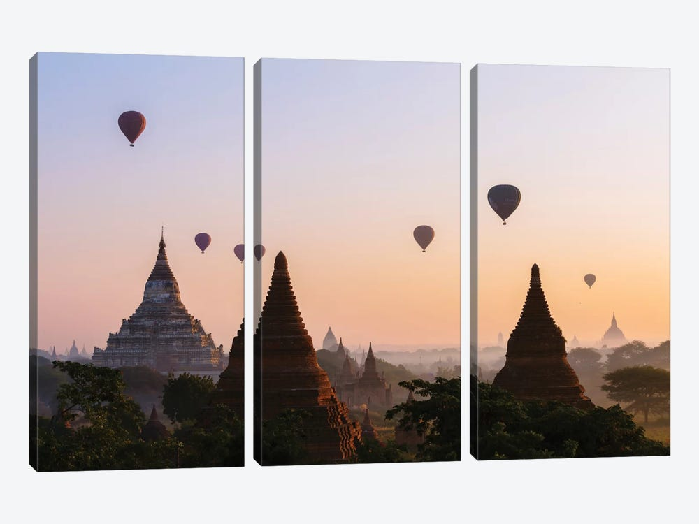 Hot Air Balloon Tours At Sunrise, Bagan Archaeological Zone, Mandalay Region, Republic Of The Union Of Myanmar by Matteo Colombo 3-piece Canvas Art Print