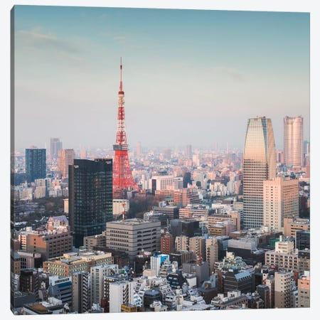 Tokyo City At Sunrise Canvas Print #TEO441} by Matteo Colombo Canvas Wall Art
