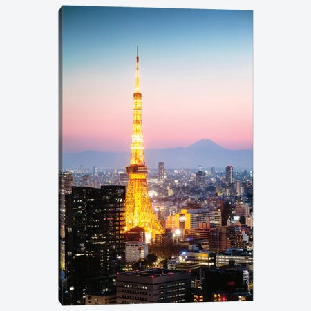 Tokyo Sunset And Mt. Fuji, Japan II Canvas Print #TEO442} by Matteo Colombo Canvas Wall Art