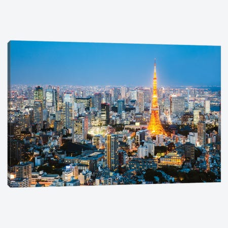 Tokyo Tower And City At Dusk, Tokyo, Japan Canvas Print #TEO443} by Matteo Colombo Canvas Artwork