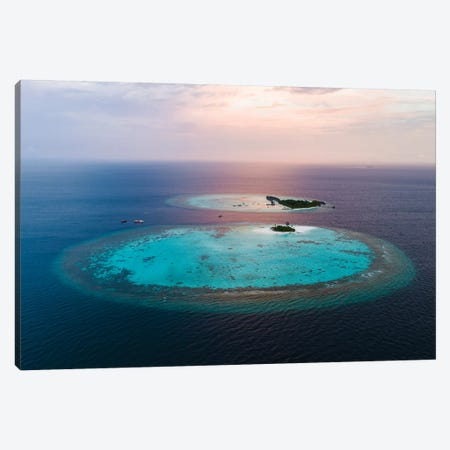 Tropical Paradise Sunset, Maldives Canvas Print #TEO448} by Matteo Colombo Canvas Artwork