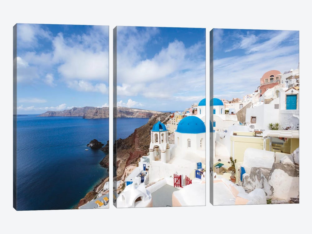 Iconic Blue Domed Churches, Oia, Santorini, Cyclades, Greece by Matteo Colombo 3-piece Canvas Art Print