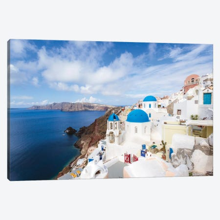 Iconic Blue Domed Churches, Oia, Santorini, Cyclades, Greece Canvas Print #TEO45} by Matteo Colombo Canvas Print