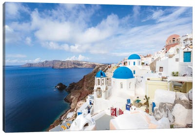 Iconic Blue Domed Churches, Oia, Santorini, Cyclades, Greece Canvas Print #TEO45