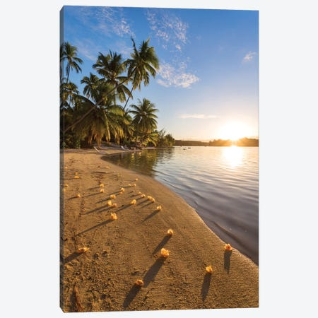 Beach Sunset, Tahiti Canvas Print #TEO467} by Matteo Colombo Canvas Print
