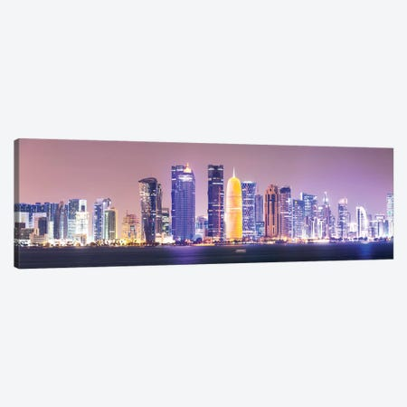 Doha At Night, Qatar Canvas Print #TEO477} by Matteo Colombo Canvas Art