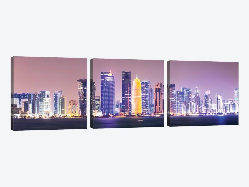 Doha At Night, Qatar by Matteo Colombo 3-piece Canvas Art Print