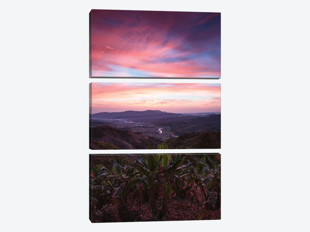 Landscape At Sunrise, Mindat, Chin State, Republic Of The Union Of Myanmar by Matteo Colombo 3-piece Canvas Print