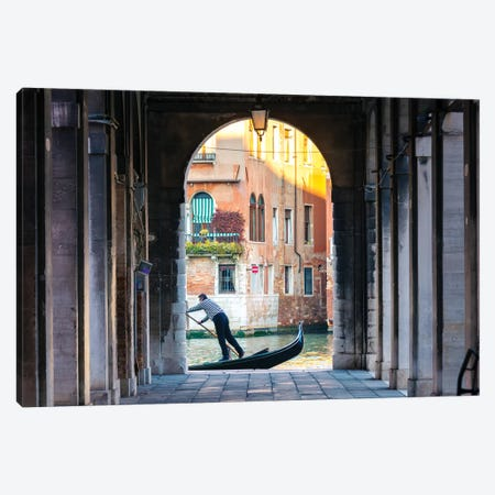 Gondolier In Venice Canvas Print #TEO484} by Matteo Colombo Canvas Art Print