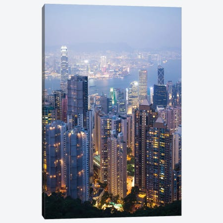 Night In Hong Kong I Canvas Print #TEO495} by Matteo Colombo Canvas Artwork