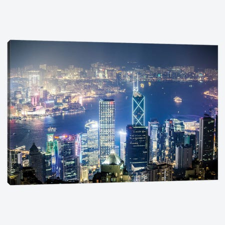 Night In Hong Kong II Canvas Print #TEO496} by Matteo Colombo Canvas Wall Art