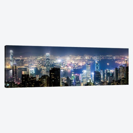 Night In Hong Kong III Canvas Print #TEO497} by Matteo Colombo Canvas Artwork