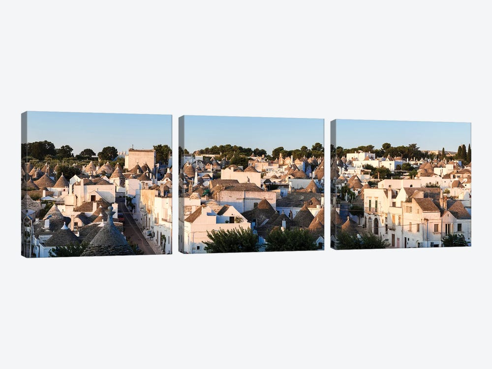 Panoramic Of Trulli Houses, Italy by Matteo Colombo 3-piece Canvas Wall Art