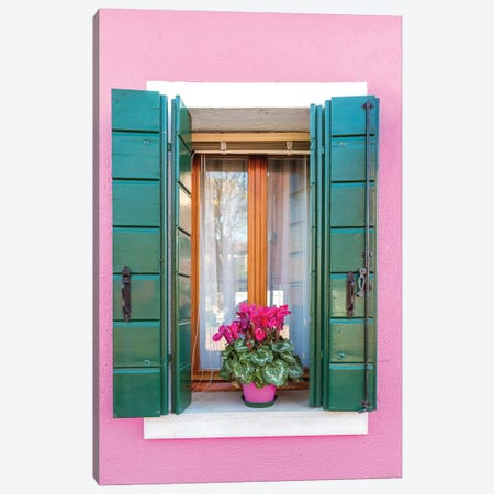 Pink Window In Burano, Venice Canvas Print #TEO501} by Matteo Colombo Canvas Print