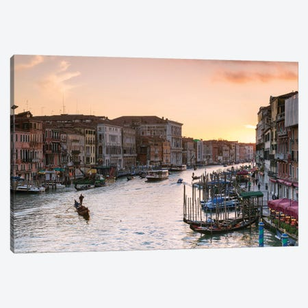 Romantic Sunset In Venice Canvas Print #TEO504} by Matteo Colombo Canvas Wall Art