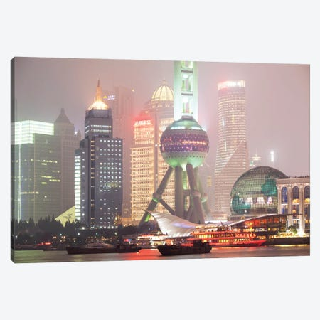 Shanghai Skyline At Night, China Canvas Print #TEO511} by Matteo Colombo Canvas Wall Art