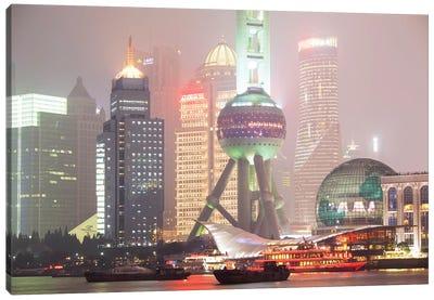 Shanghai Skyline At Night, China Canvas Art Print