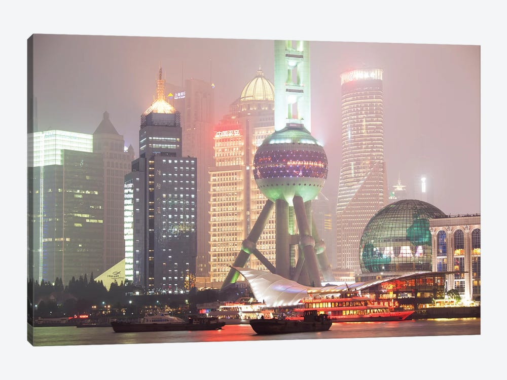 Shanghai Skyline At Night, China by Matteo Colombo 1-piece Canvas Artwork