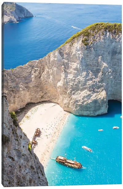 Shipwreck Beach, Zakynthos, Greece Canvas Art Print