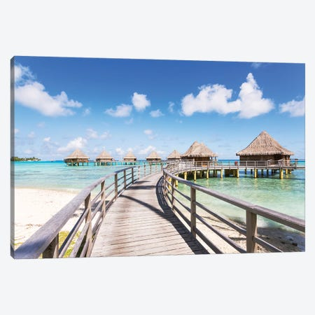 Water Villas, French Polynesia Canvas Print #TEO533} by Matteo Colombo Canvas Wall Art