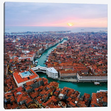 Aerial Of Rialto Bridge At Sunset, Venice Canvas Print #TEO535} by Matteo Colombo Canvas Art Print