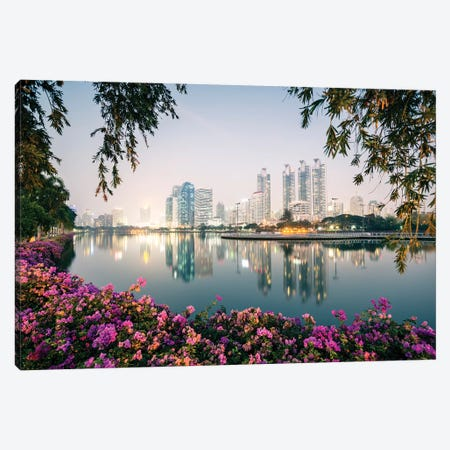 Bangkok City Sunset, Thailand Canvas Print #TEO540} by Matteo Colombo Art Print