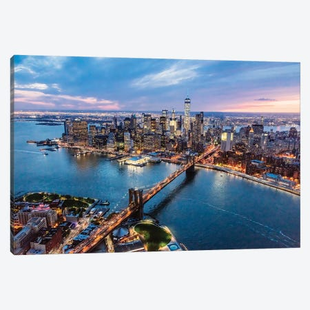 Brooklyn Bridge And Manhattan At Dusk II Canvas Print #TEO546} by Matteo Colombo Canvas Art