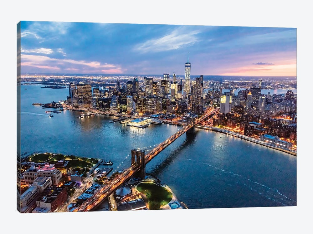 Brooklyn Bridge And Manhattan At Dusk II by Matteo Colombo 1-piece Canvas Art